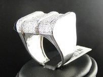 Mens White Gold Finsh Engagement Diamond Pinky Fashion Band Ring