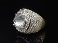Yellow Gold Finish Mens Iced Out .925 Sterling Silver Simulated Inverted Diamond