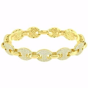 Gucci Mariner Bracelet 14k Gold Finish Over Sterling Silver Simulated Diamonds