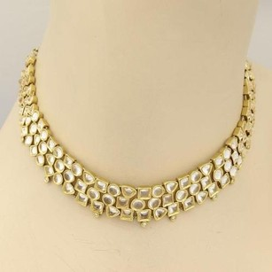 H. Stern 18k Yellow Gold White Quartz Diamonds Geometric Choker Necklace