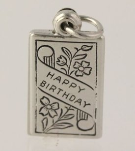 Happy Birthday Cake Pendant - 925 Sterling Silver Womens Fine Estate Dangle