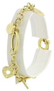Heart Charm Bracelet 7.75 - 14k Yellow Gold Italian Womens Spring Ring Clasp