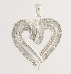 Heart Pendant - Sterling Silver Diamonds Anniversary Love Gift Genuine .25ctw