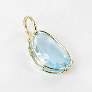 Other Heather B Moore Wire Charm Pendant Blue Topaz 14k Yellow Gold