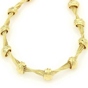 Henry Dunay 18k Yellow Gold Twisted Wire Hand Hammered Design Choker Necklace