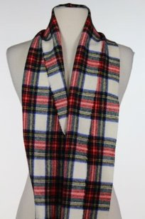Highland Homes Industries Womens One Red Blue Ivory Plaid Scarf 100 Wool
