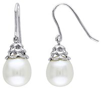 9.5-10 Mm White Freshwater Pearl Shepard Hook Earrings Silver