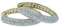 14k Yellow Womens Pave 3.46 Ct Vs Diamond Hoops Earring