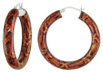 Other Sterling Silver Brown Snake Patern Hoop Earrings