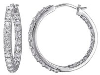 Sterling Silver 3.6 Ct Tgw White Sapphire Hoop Earrings