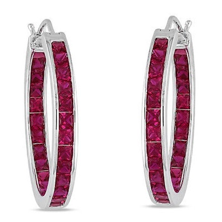 Other Sterling Silver 6 14 Ct Tgw Ruby Hoop Earrings