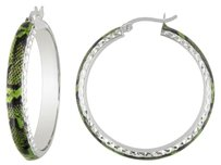 Sterling Silver Green Snake Patern Hoop Earrings