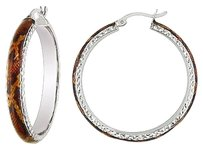 Other Sterling Silver Brown Snake Animal Patern Hoop Earrings
