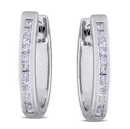 Other Sterling Silver 14 Ct Princess Diamond Tw Hoop Earrings Gh I2i3