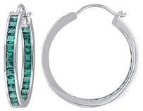 Other Sterling Silver 5 15 Ct Tgw Emerald Hoop Earrings