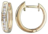 10k Yellow Gold 14 Ct Tdw Diamond Cuff Click In Hoop Earrings H-i I2-i3