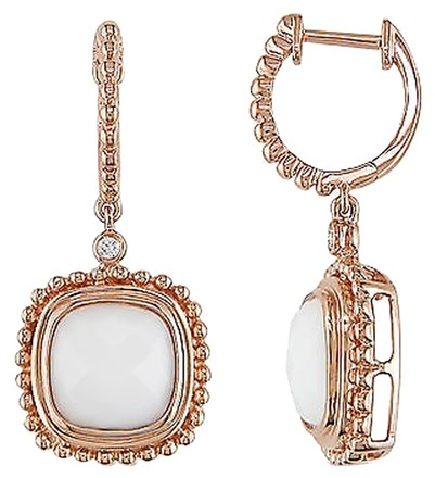 Other 14k Pink Gold Diamond And 5 Ct Tgw White Onyx Cuff Earrings Gh Si