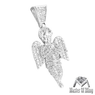 Icy White Gold Finish Unique Simulated Diamond Praying Angel Pendant