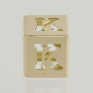 Initial K Block Bead Charm - 14k Yellow Gold Letter Alphabet Jewelry Making