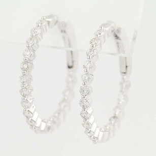 Other Inside Out Diamond Hoop Earrings - 14k White Gold Pierced 1.52ctw