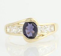 Iolite Cubic Zirconia Ring - 14k Yellow Gold 2.18ctw Dew Bypass Style Cocktail