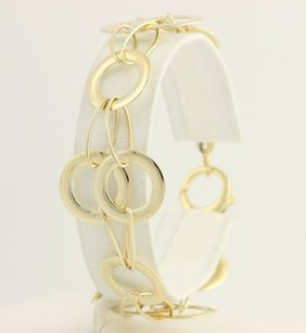 Italian Circle Link Bracelet - 12- 14k Yellow Gold Contemporary Design