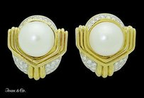 Other Ivan Co. 18k Yellow Gold Diamond Pearl Earrings E298