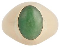 Other Jadeite Ring - 14k Yellow Gold Oval Solitaire Unisex Green Stone 4.01ct