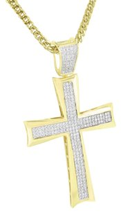 Jesus Cross Pendant Simulated Diamonds Pave Set Yellow Gold Finish Franco Chain