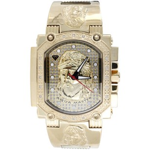Jesus Face Mens Diamond Watch Aqua Master Jojo Jojino Joe Rodeo 0.16 Ctw W323-y