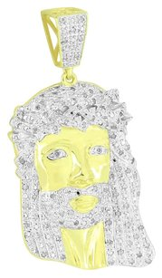 Jesus Face Sterling Silver Pendant Real Diamond Charm Gold Finish High End 2.0in