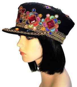 Jeweled Black Felt with Lace Overlay Captain [ HeavenlyHats ]