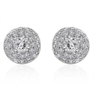 1.04 Carat Round Cut Diamond Halo Earrings 14k White Gold