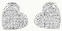 Ladies Heart Shape Earrings 14k White Gold Finish Lab Created Diamonds Screw On
