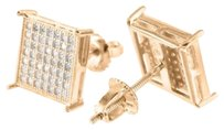 Rose Gold Square Earrings Lab Created Diamond 14k Finish Screw On Valentine Sale