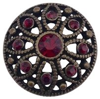Ginger Snaps Antique Brass Mae Flower Siam Snap Red Stones Sn06-32