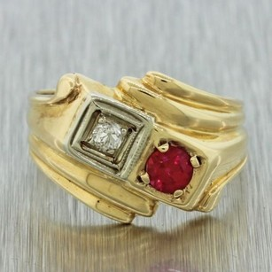 1940s Antique Art Deco Estate Womens 14k Solid Yellow Gold Diamond Ruby Ring