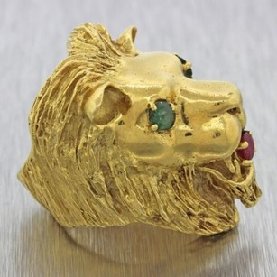 Other Vintage Estate Hammerman Bros 18k Yellow Gold Emerald Ruby Designer Lion Ring