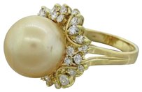 Other 1970s Vintage 18k Yellow Gold South .90ctw Diamond Golden South Sea Pearl Ring