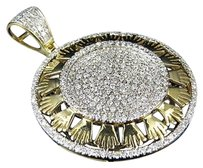 Mens 10k Yellow Gold Genuine Diamond Crown Medallion Charm Pendant 1.15ct 1.5