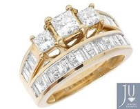 Other Ladies 14k Yellow Gold Real Princess Baguette Diamond Engagement Ring Set 2.0ct