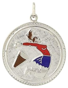 Other Cheerleading Charm - Sterling Silver Enamel Cheer Leader Sports 925 Pendant
