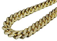 Mens 10k Yellow Gold Miami Cuban Link Real Diamond Necklace Chain 28.75 Ct 30