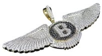 Mens 10k Yellow Gold Bentley Flying B Treated Black Genuine Diamond Pendant 13ct