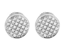 Ladies Mens 10k White Gold Real Diamond Round Pave Stud Earrings .33ct 7mm