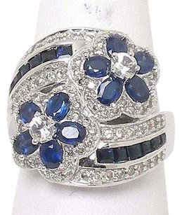 Other Estate 14k Wgold 2.70ctw Diamond Wwhite Blue Sapphire Floral Ring