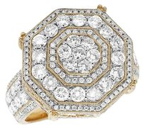 Other Mens 14k Yellow Gold Real Diamond Octagon Wedding Pinky Fashion Ring 3.0ct 20mm