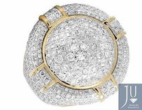 Mens 14k Yellow Gold Genuine Diamond Round Puff Dome 3d Pillow Pinky Ring 5.75ct