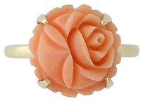 Carved Coral Ring - 14k Yellow Gold Flower Blossom Design Womens 12