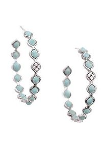 Elizabeth Showers Sterling Silver Turquoise White Sapphire Earrings
